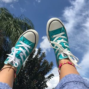 Teal Low Top Converse